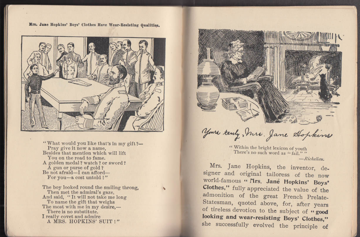 Jane Hopkins Boys Clothes The Brave American Boy booklet Goodnow Keene NH 1898