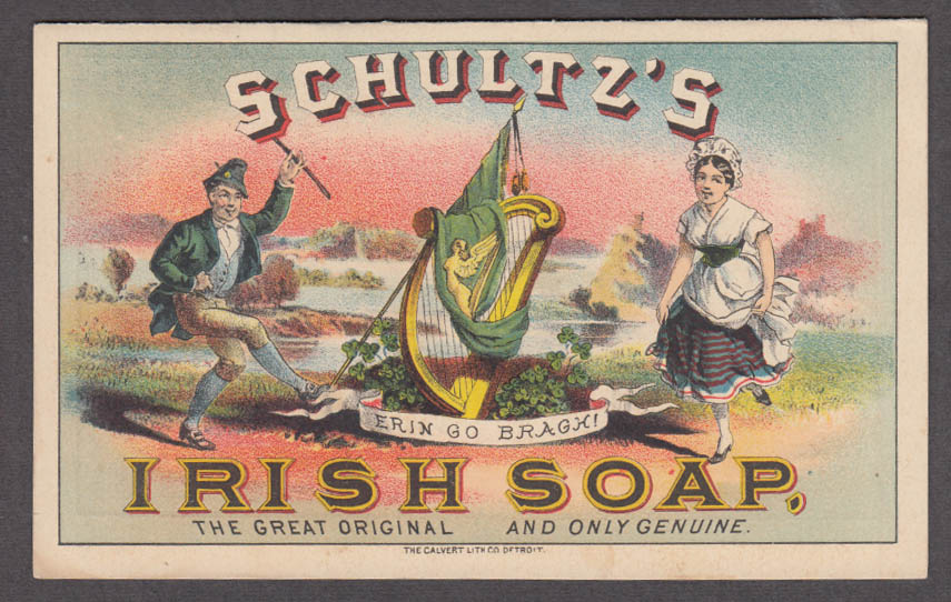 Schultz's Irish Soap chromolithograph advertising folder 1880s Xanesville OH