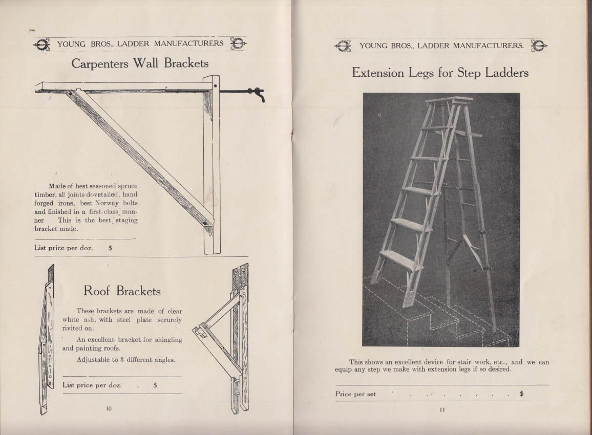 Young Bros Ladder & Woodenware Manufacturers Catalog ca 1900 Worcester MA