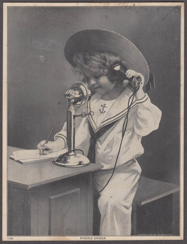 Child curly locks sailor suit on candlestick phone PHONE ORDER print 1909
