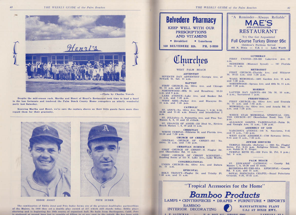 Weekly Guide of the Palm Beaches 3/9 1952 Gus Zernial Philadelphia A's +