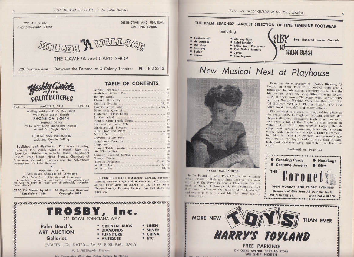 Weekly Guide of the Palm Beaches 3/7 1959 Katharine Cornell Helen Gallagher +