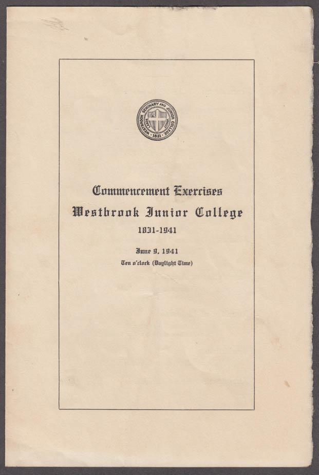 Westbrook Junior College Commencement Exercises Program 1941 Portland ME
