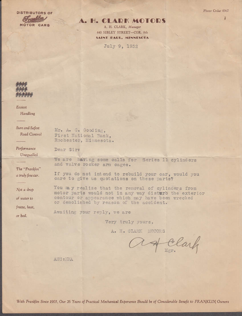 A H Clark Motors St Paul MN Franklin Cars business letter 1932