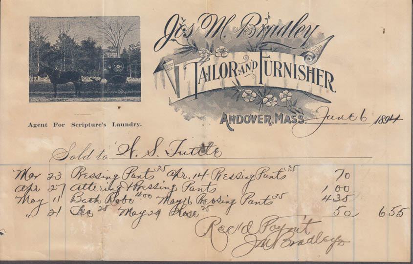 Jos M Bradley Tailor Furnisher Scripture's Laundry Agent invoice Andover MA 1894