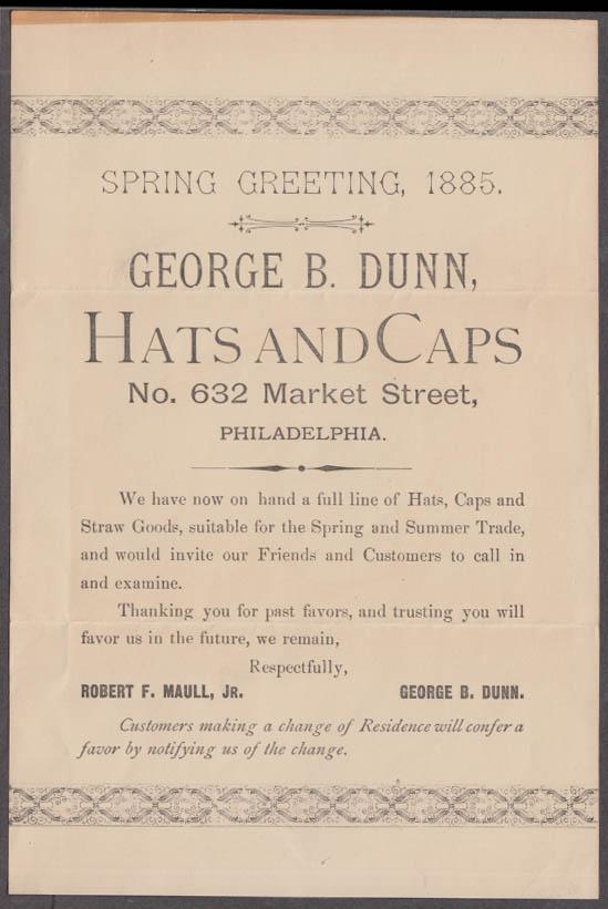 George B Dunn Hats & Caps Spring Greeting handbill Philadelphia 1885