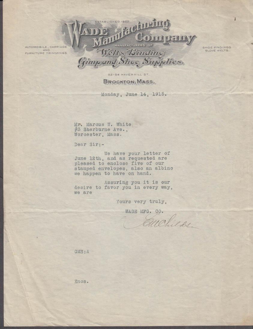 Wade Manufacturing Welts Belting Gimp Shoe Supplies letter Brockton MA 1915