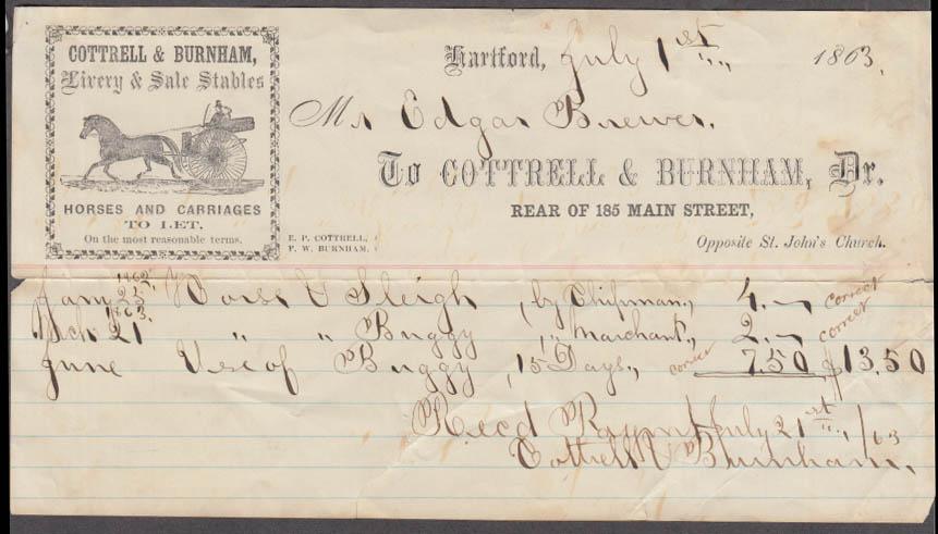 Cottrell & Burnham Livery & Sale Stables sleigh invoice Hartford CT 1863