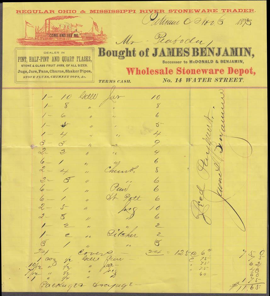 James Benjamin Glass Flasks Jugs Shaker Pipes invoice Putnam CT 1873