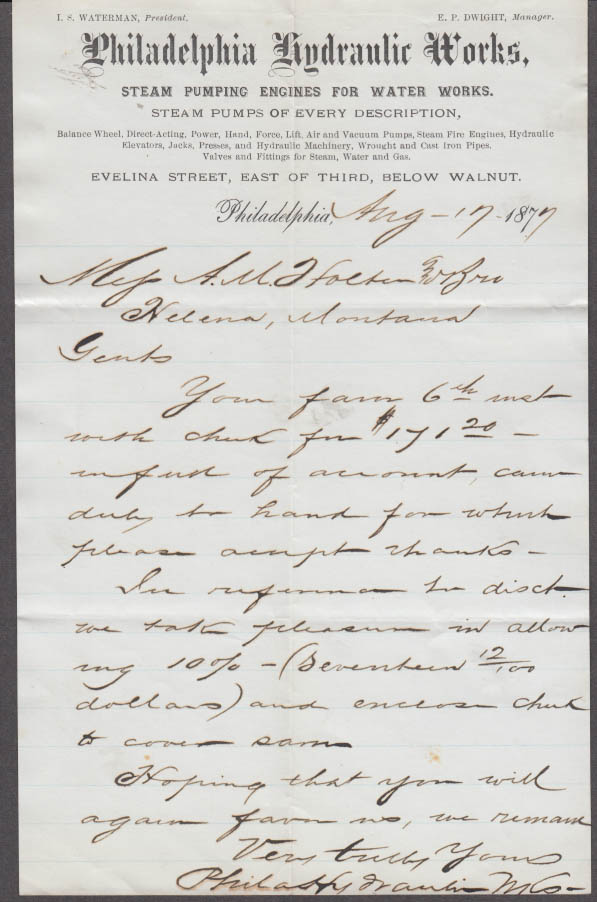 Philadelphia Hydraulic Works Steam Pumping Engines business letter 1877