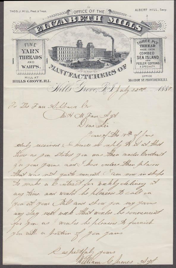 Elizabeth Mills Yard Thread Warps business letter Hills Grove RI 1887