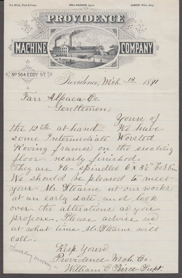 Providence Machine Company business letter 1881 re worsted roving frames RI