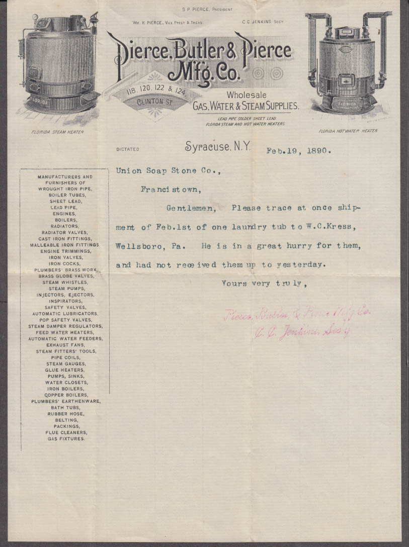 Pierce Butler & Pierce Gas Water & Steam Supplies letter Syracuse NY 1890