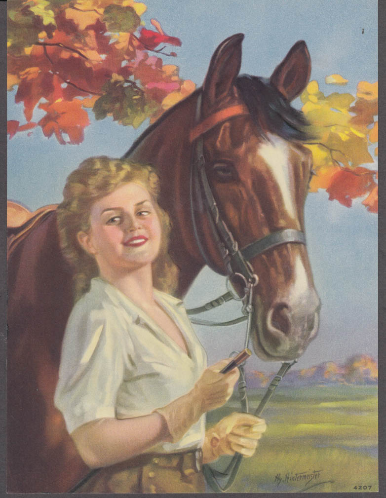 Hy Hintermeister embossed pin-up calendar print 1950s blonde white blouse horse