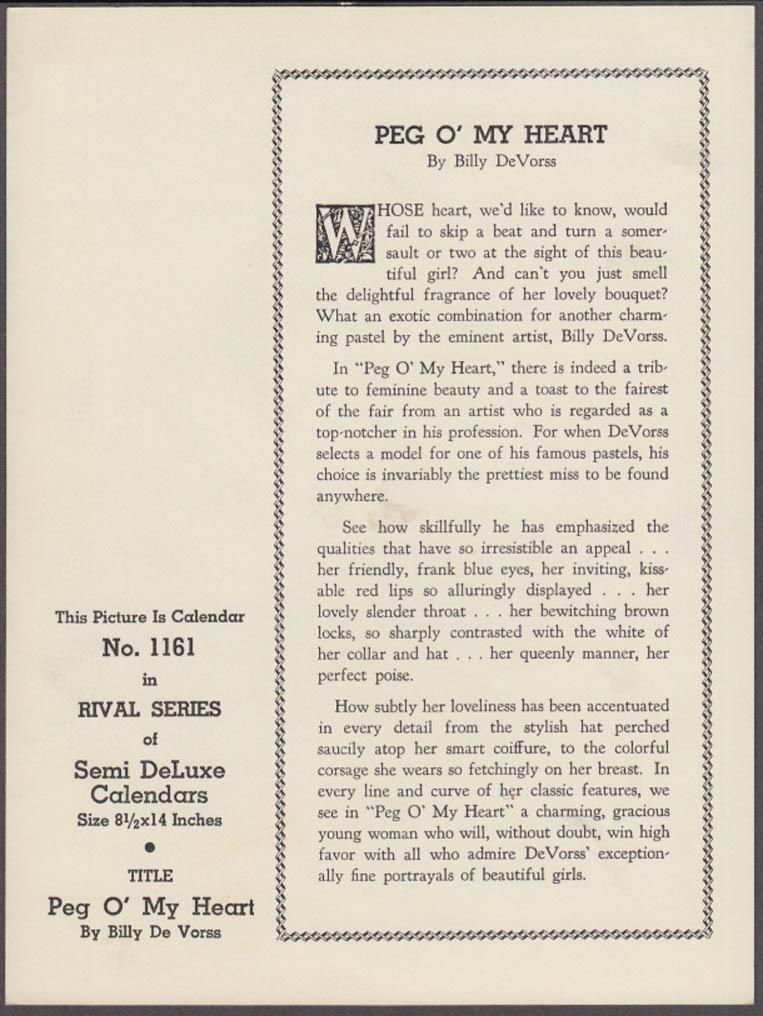 Billy de Vorss pin-up calendar print brunette Peg o' My Heart GP3362 1940s