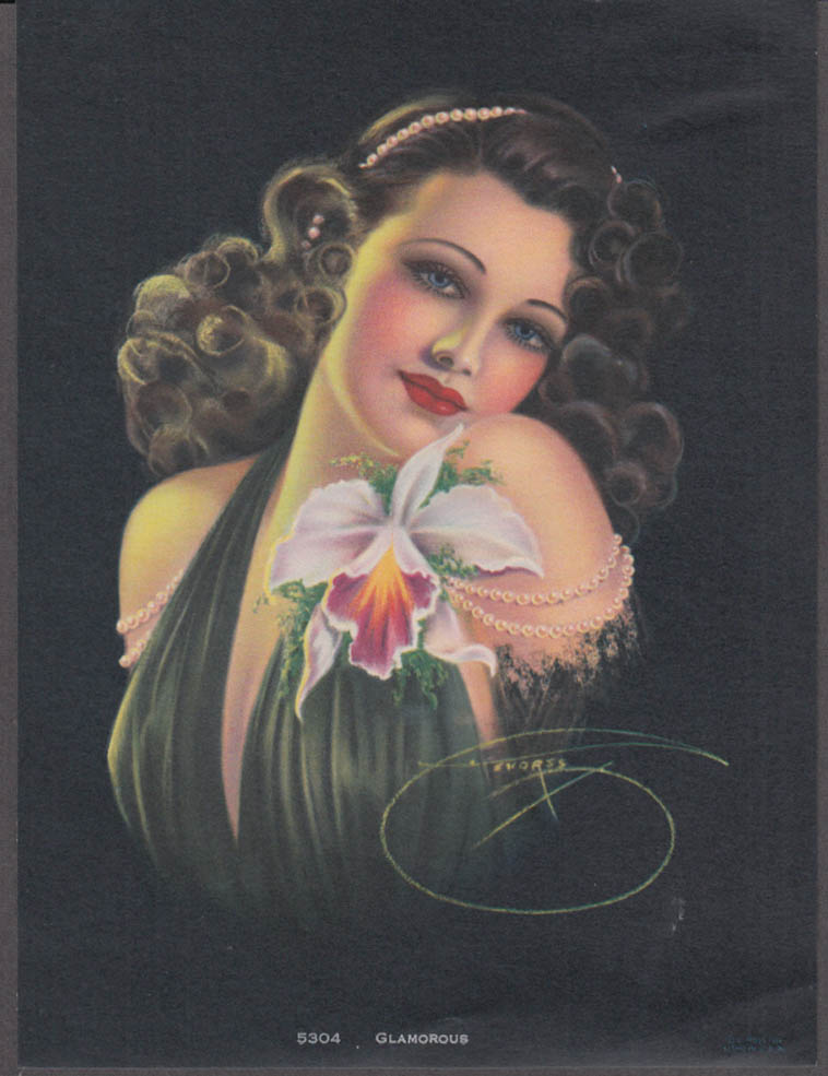Billy de Vorss pin-up calendar print Glamorous #5304 brunette cleavage orchid