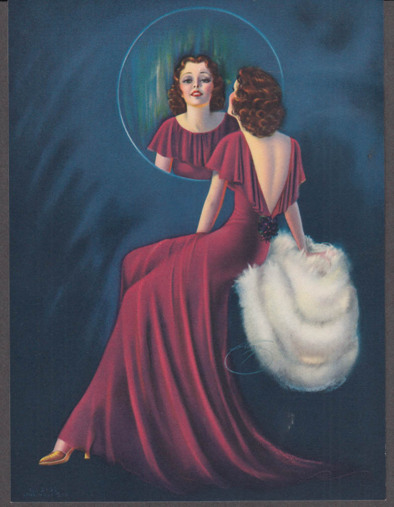 Billy de Vorss Pretty as a Picture pin-up calendar print #5162 1940s mirror fur