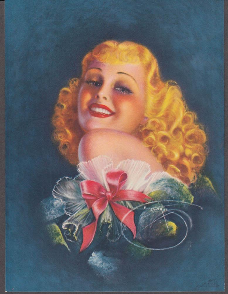 Billy de Vorss Girl with the Golden Hair pin-up calendar print 1940s GP5152