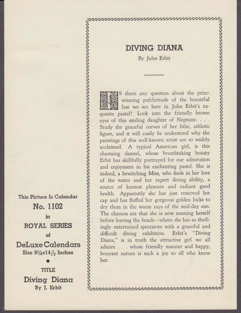 Jules Erbit Diving Diana pin-up calendar print 1940s red swimsuit redhead GP3382