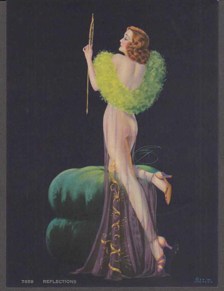 Billy de Vorss Reflections pin-up calendar print 1940s #7659 redhead bare bottom