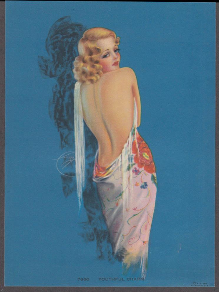 Billy de Vorss Youthful Charm pin-up calendar print 1940s #7660 blonde bare back