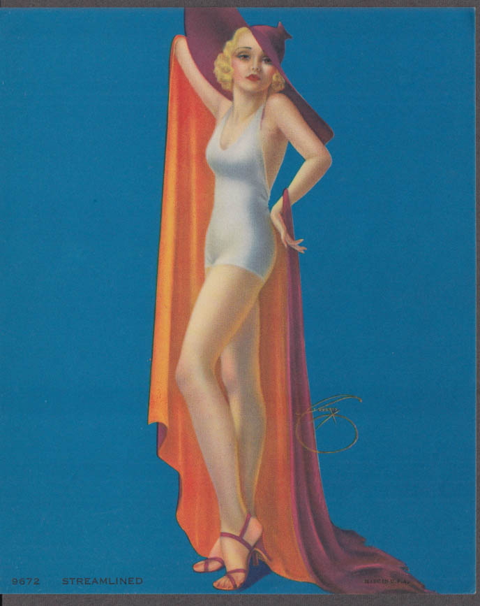 Billy de Vorss Streamlined pin-up calendar print 1940s #9672 blonde swimsuit