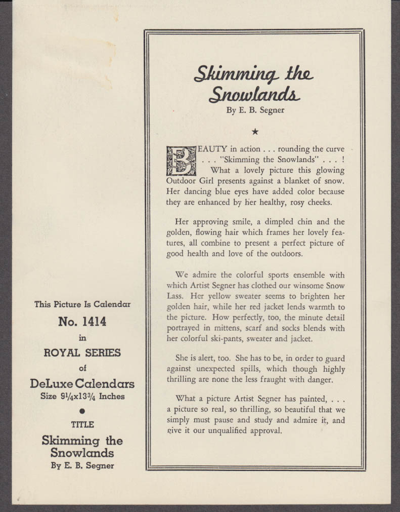 E B Segner pin-up calendar print 1940s bSkimming Snowlands GP5322 1940s