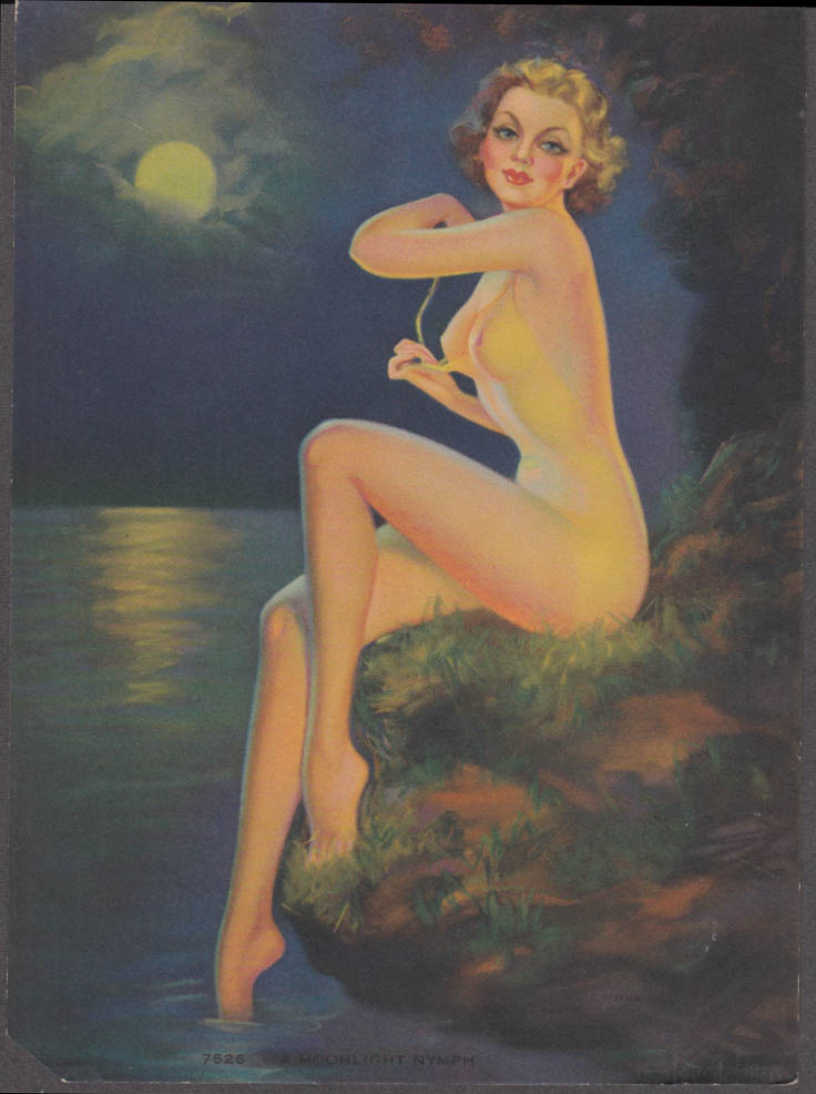 Laurette Patten Moonlight Nymph pin-up calendar print 1938 swimsuit coming off