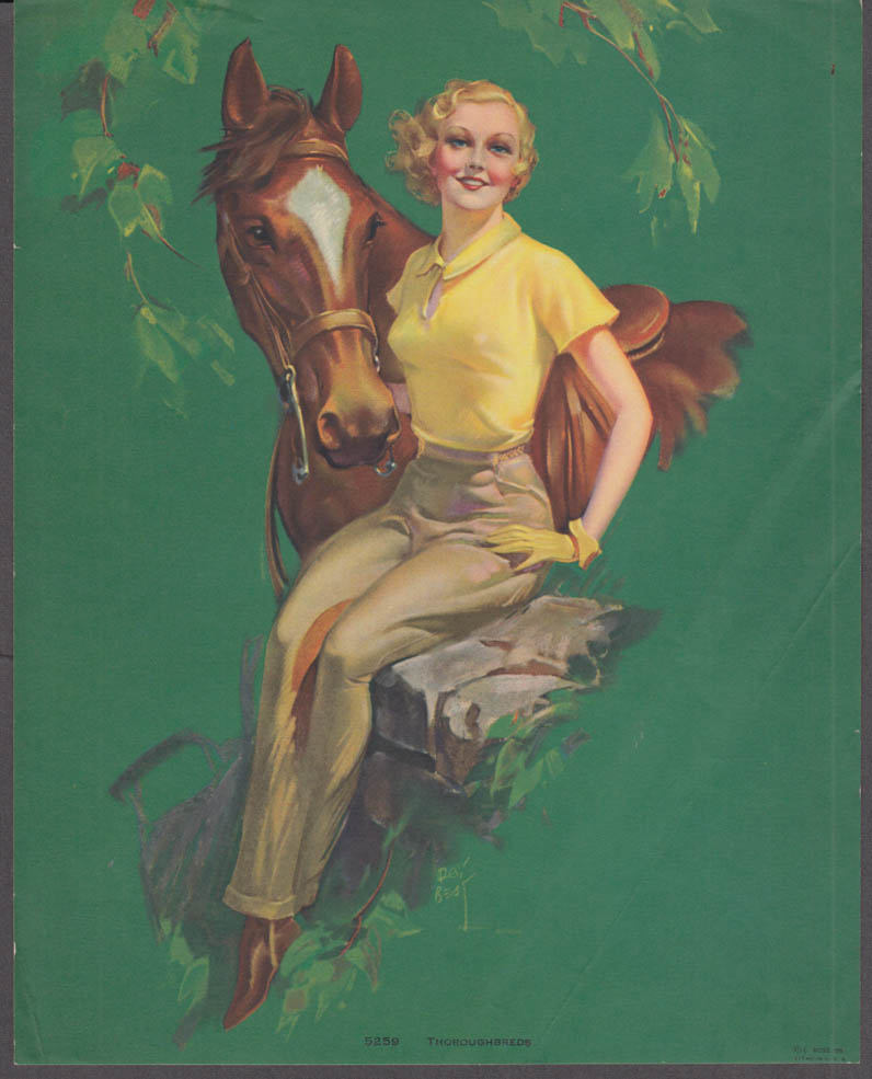 Roy Best Thoroughbreds pin-up calendar print 1941 #5259 blonde gloves horse
