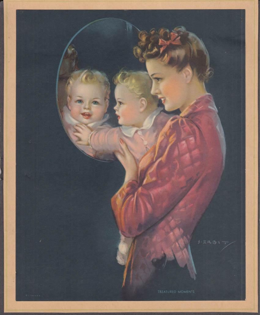 Jules Erbit Treasured Moments pin-up calendar print 1947 pretty mom & baby