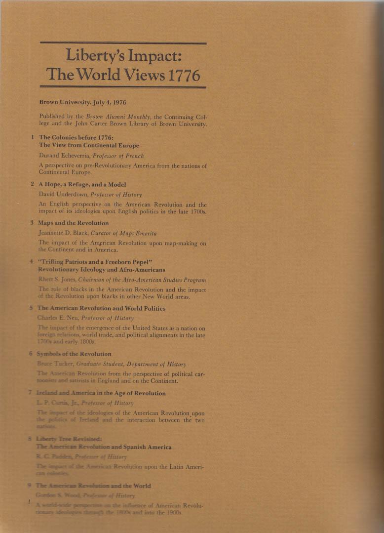 Liberty's Impact: World Views 1776: Brown University publication 7/4 1976