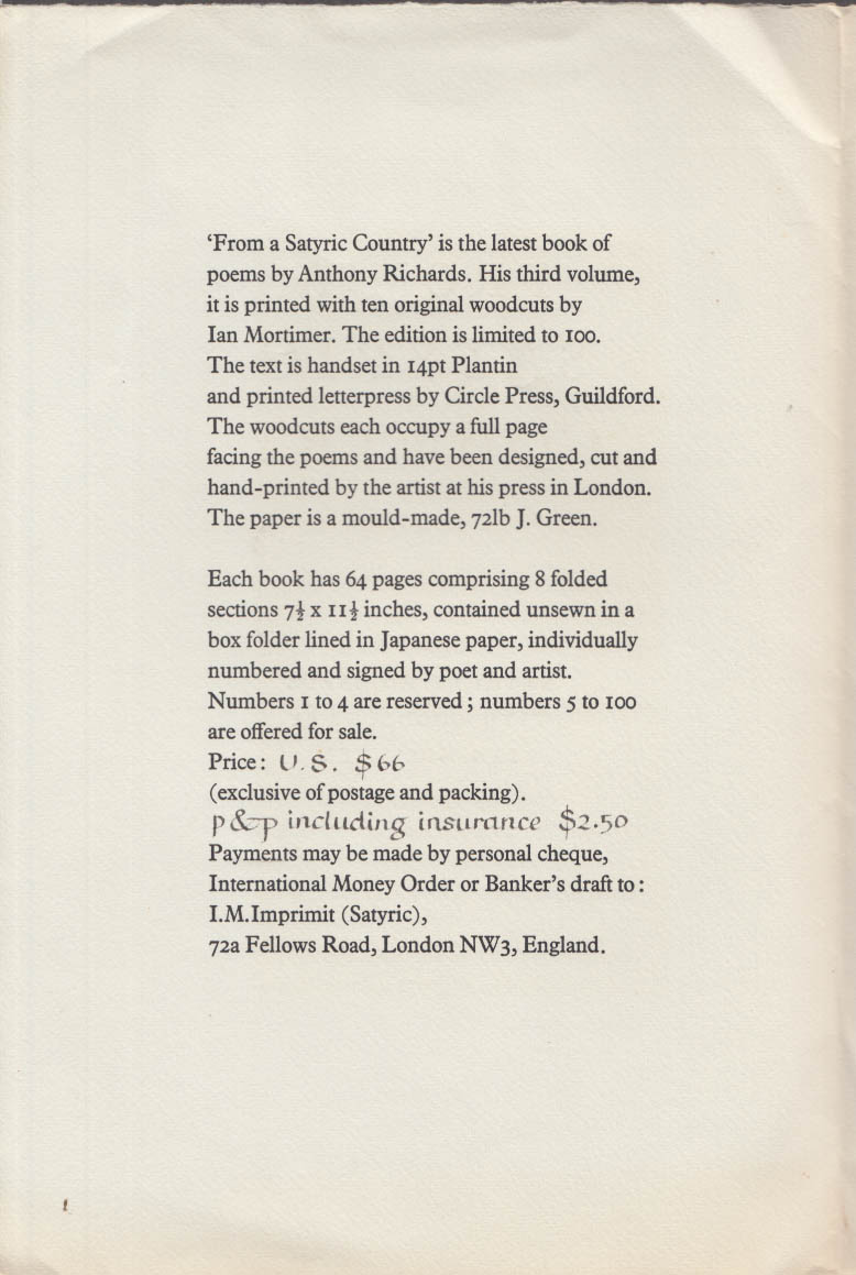 From a Satyric Country Poems by Anthony Richards prospectus 1971 Ian Mortimer