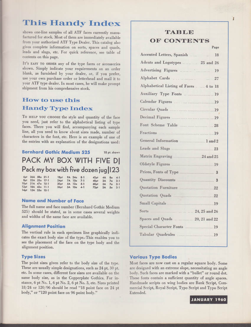 ATF American Type Foundry Handy Type Index & Price List 1960