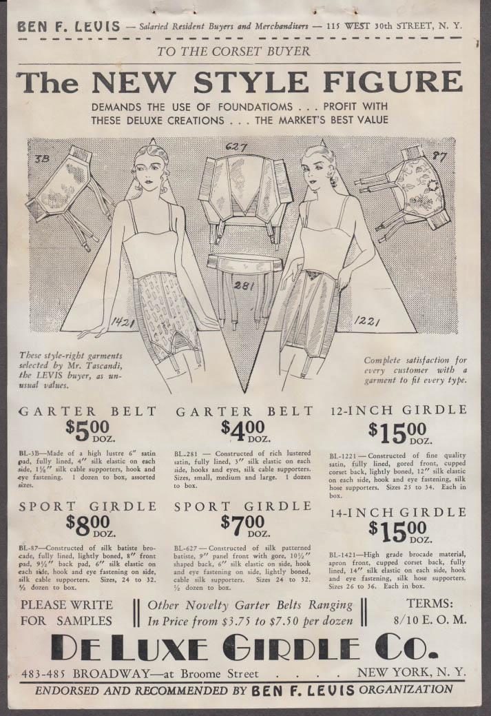 De Luxe Girdle New Style Figure corset salesman's flyer ca 1915