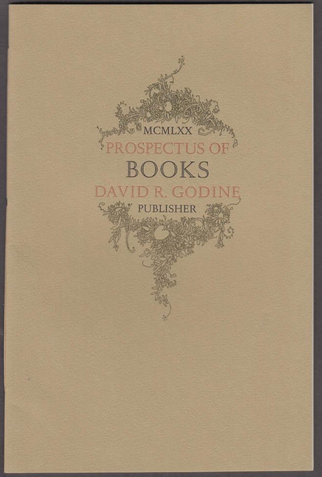 David R Godine Prospectus of Books catalog 1970