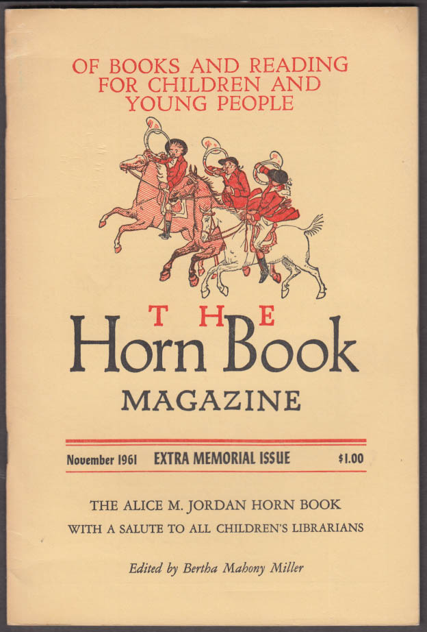 The HORN BOOK 11 1961 Alice M Jordan Special Issue