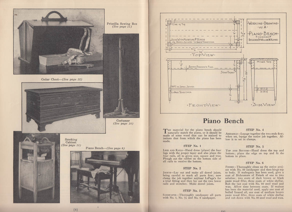 Le Page's Glue Home Work Shop Book furniture plans 1927