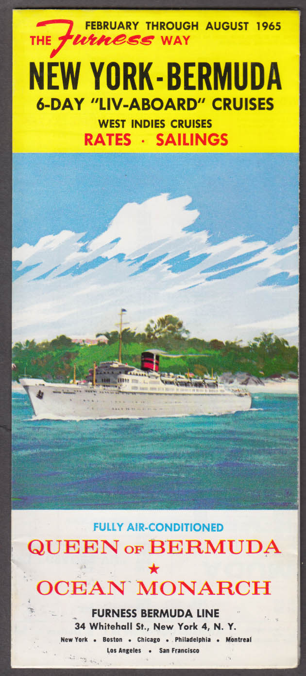 Furness Bermuda Line Cruise Brochure Queen of Bermuda Ocean Monarch 1965