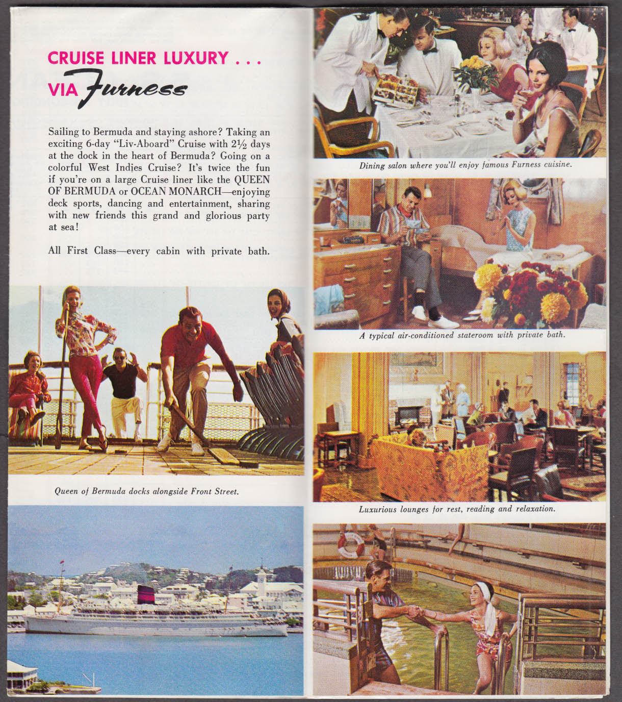 Furness Bermuda Line Cruise Brochure Queen of Bermuda Ocean Monarch 1965