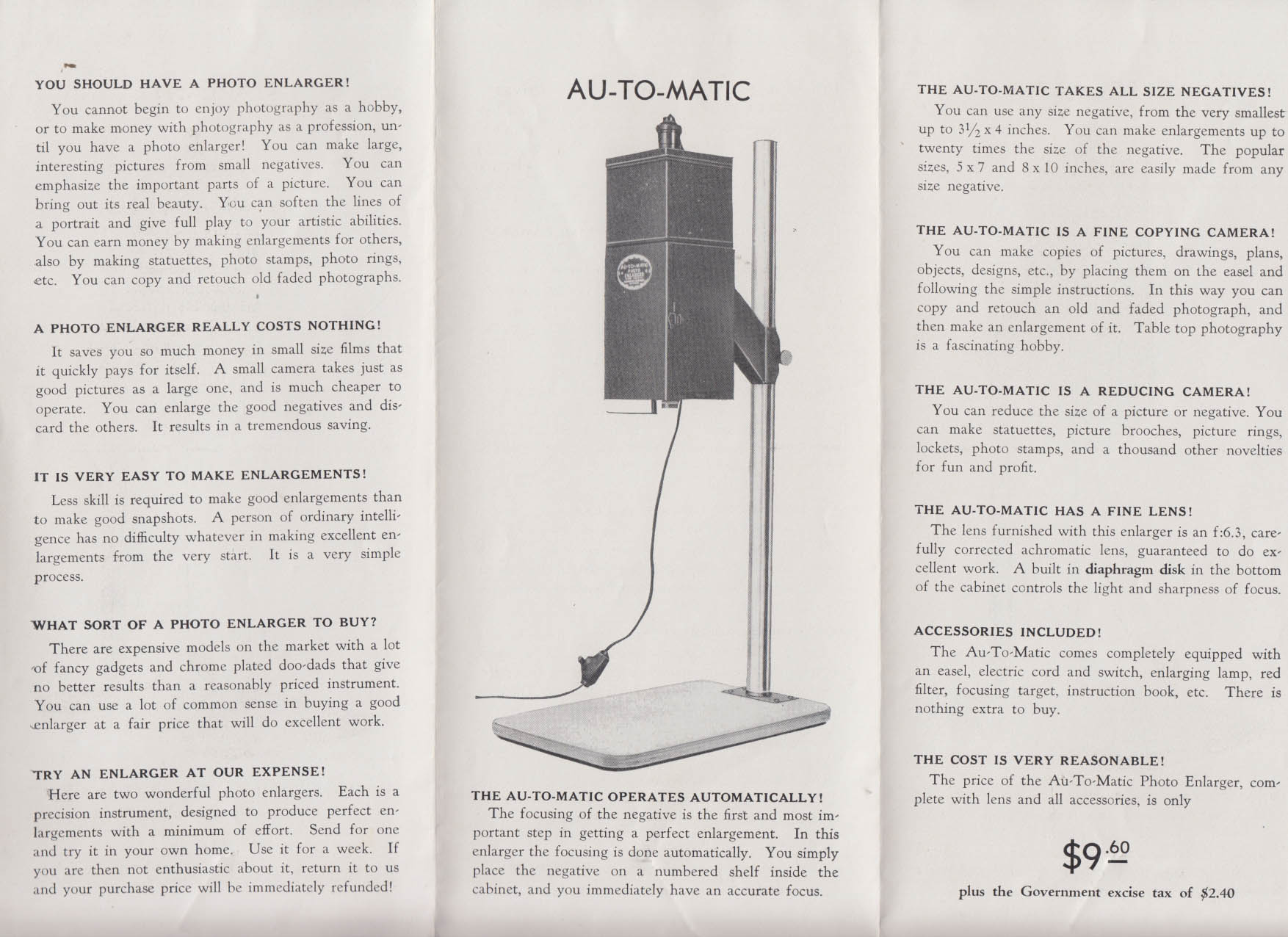 Photo-Sphere Au-To-Matic & Starlight Photo Enlargers sales folder ca 1940s