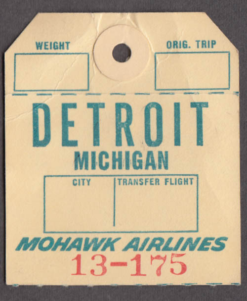 Mohawk Airlines airline baggage check Detroit MI DTW undated