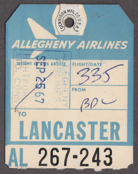Allegheny Airlines airline baggage check Lancaster PA LNS 1967