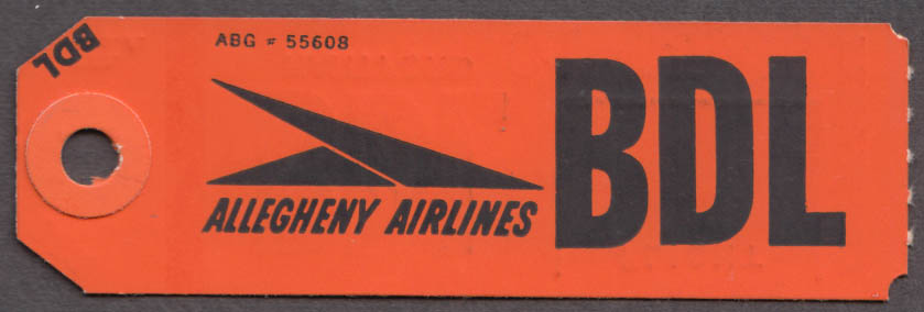 Allegheny Airlines flown baggage check Hartford-Springfield BDL 1960s