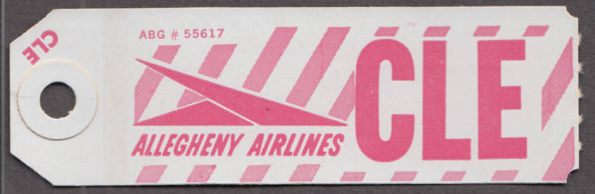 Allegheny Airlines airline baggage tag Cleveland OH CLE