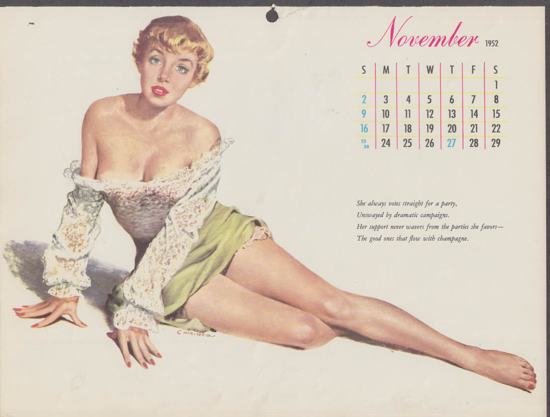 Chiriaka pin-up calendar page Esquire 11 1952 blonde lace top cleavage