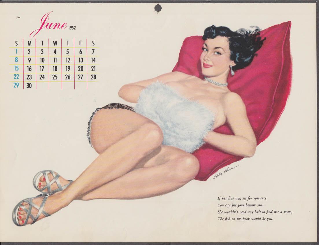 Eddie Chan pin-up calendar page Esquire 6 1952 handwarmer muff hides topless gal