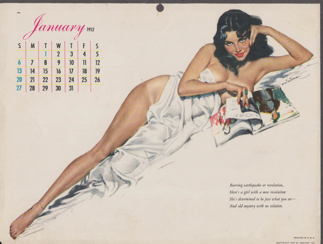 Chiriaka pin-up calendar page Esquire 1 1952 brunette nude wrapper in sheet