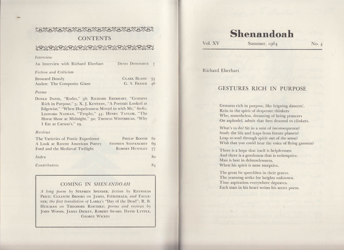 SHENANDOAH Washington & Lee U Review Summer 1964 Auden Eberhart Donoghue