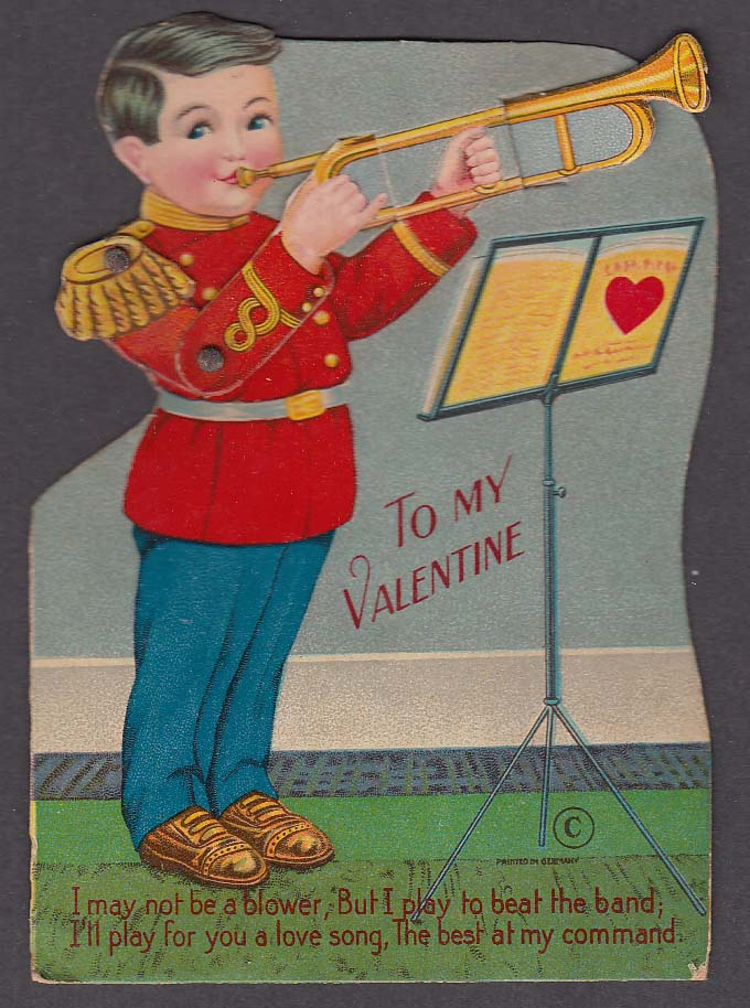 Image for Trombone Player mechanical Valentine card ca 1920s