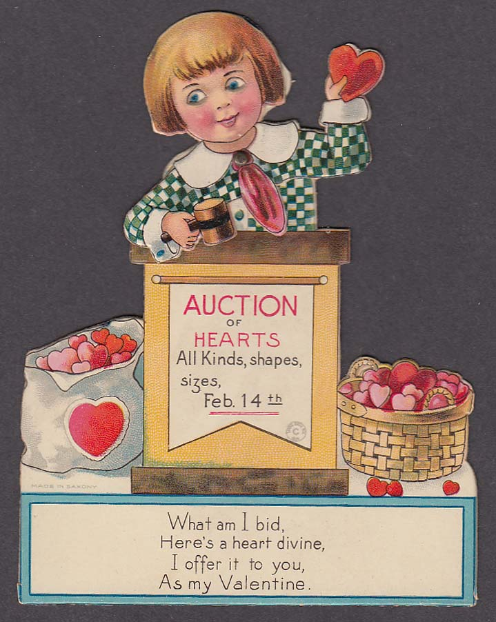 Auction of Hearts mechanical Valentine card